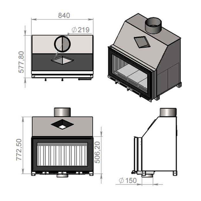 Схема каминной топки Жарко AIR LONG LUX